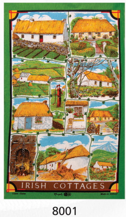 Irish Cottages Linen Tea Towel
