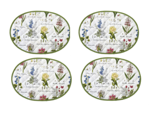 Botanic Garden Quilted Place Mats - Set of 4