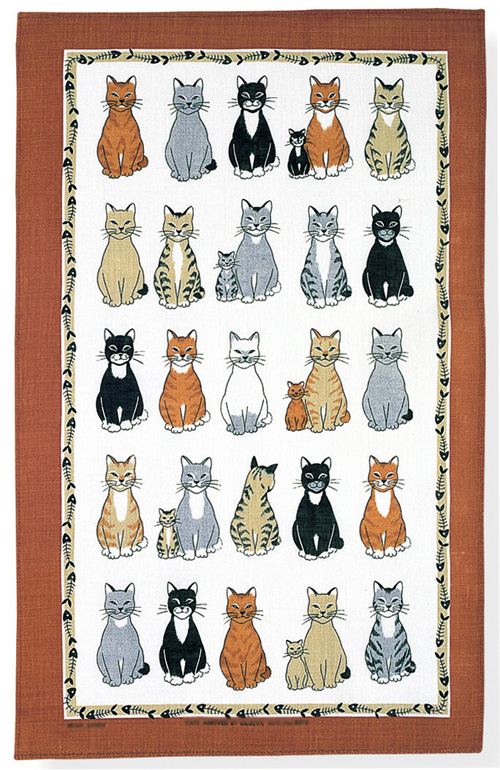 Cats Arrived Linen Tea Towel