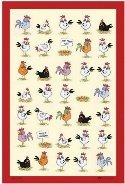 Chickens Linen Union Tea Towel