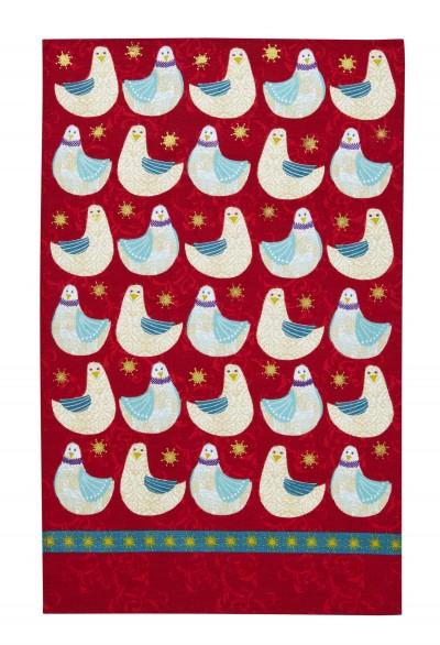Christmas Dove Linen Tea Towel
