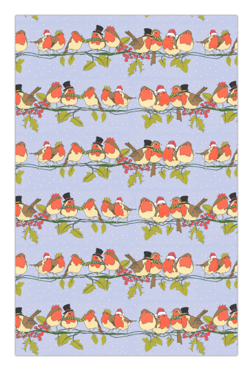 Christmas Robins Cotton Tea Towel