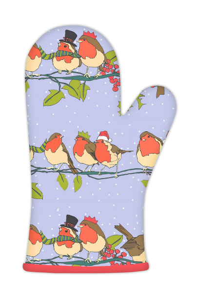 Christmas Robins Cotton Oven Gauntlet