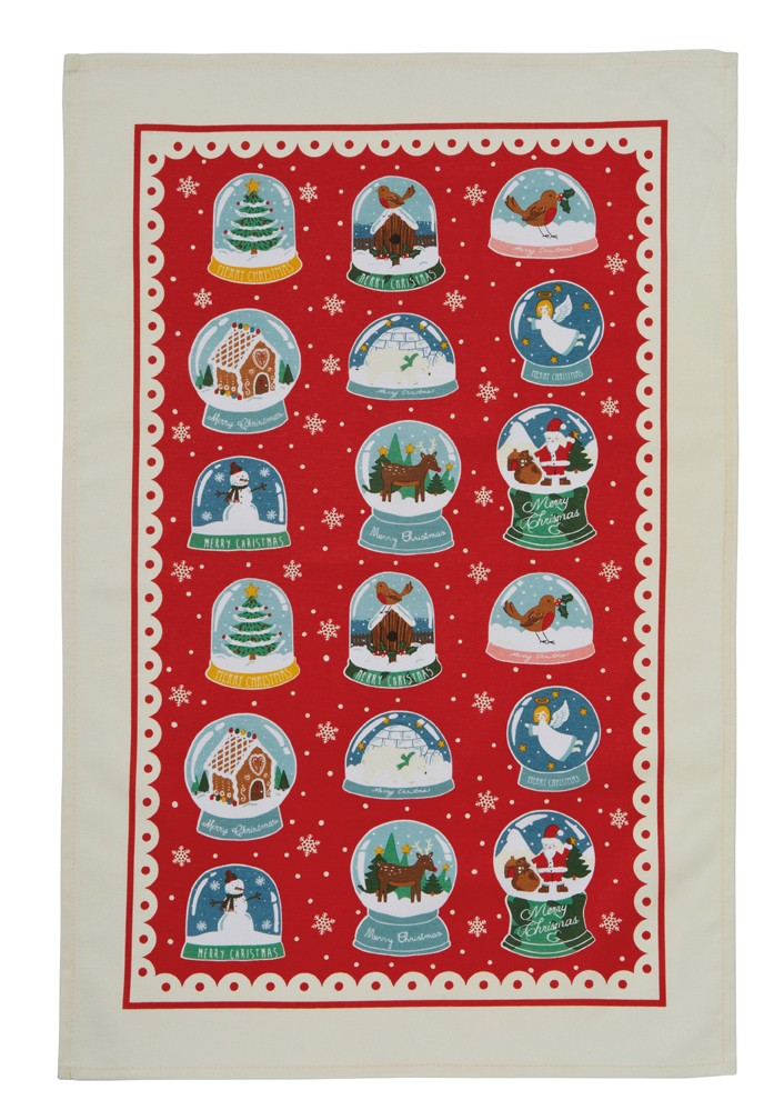 Christmas Snow Globes Cotton Tea Towel