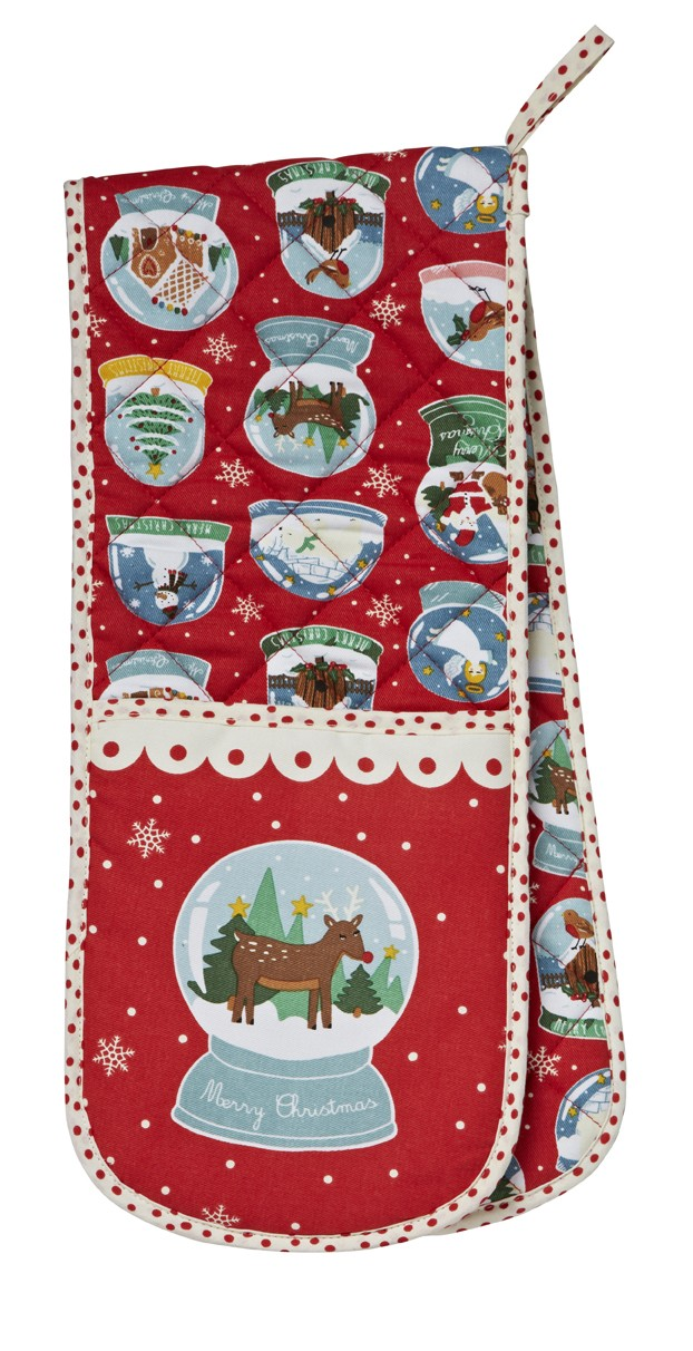 Christmas Snow Globes Double Oven Glove