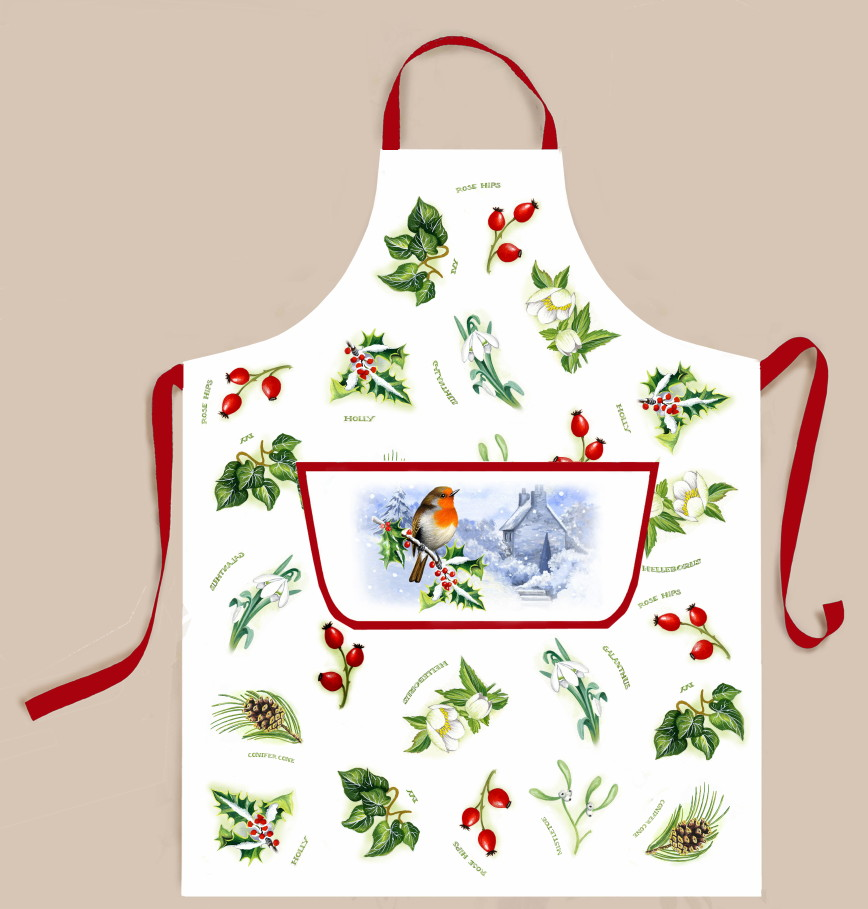 Christmas Garden Cotton Apron With Pocket