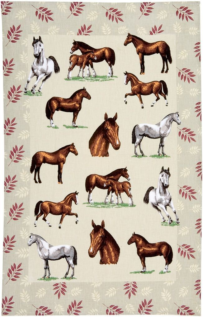 Horses Linen Tea Towel - Click Image to Close
