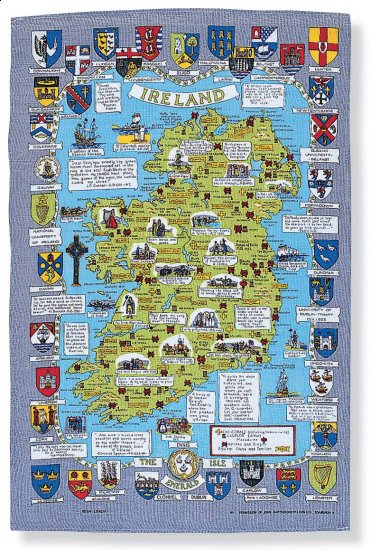 Ireland Map Linen Tea Towel