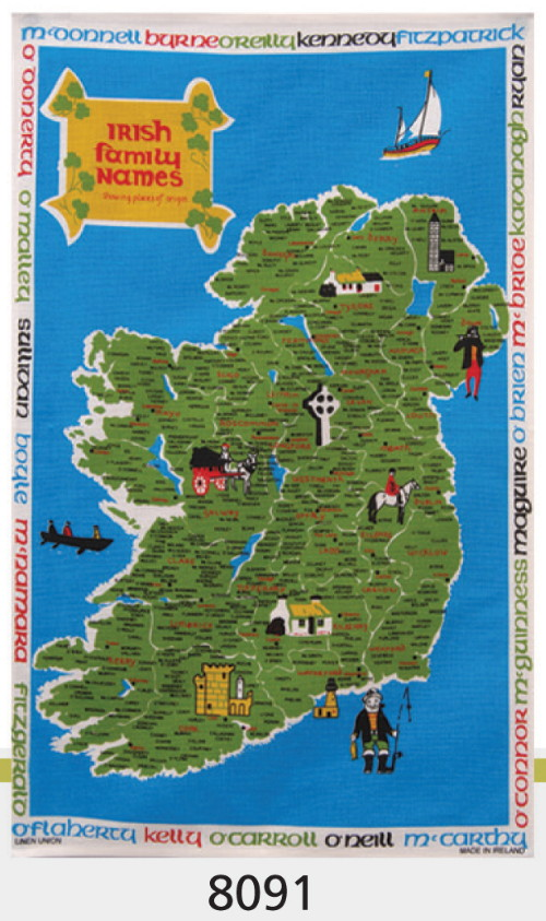 Irish Family Names Linen Union Tea Towel