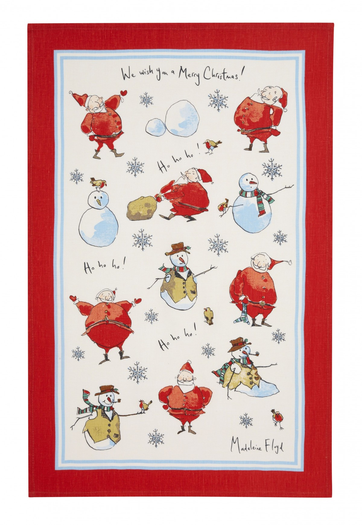 Madeleine Floyd Santa and Snowmen Linen Tea Towel