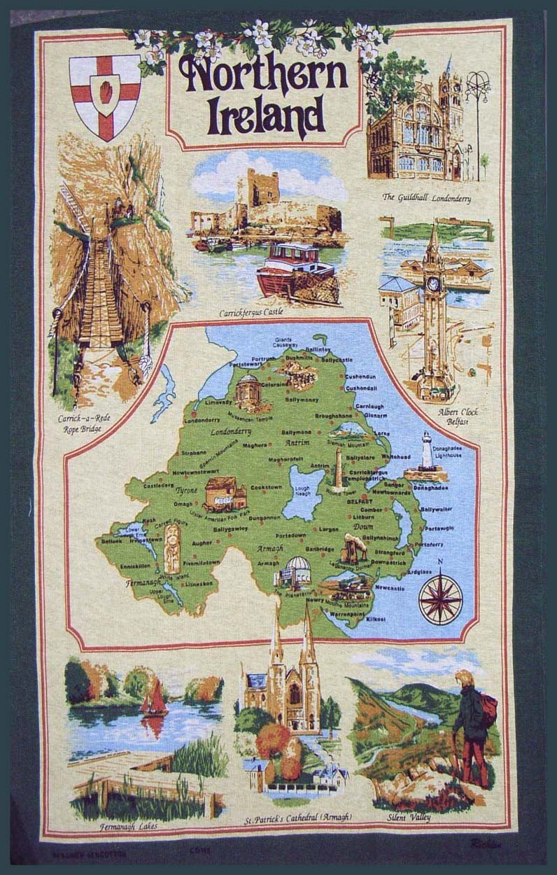 Map of Northern Ireland Linen Union Tea Towel