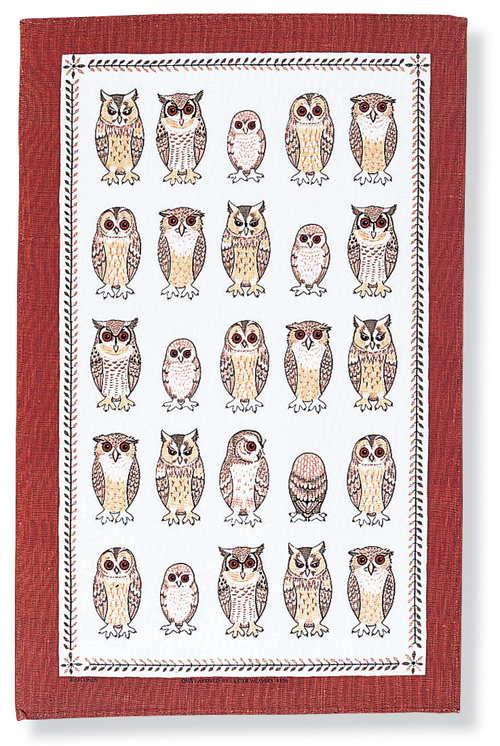 Owls Arrived Linen Tea Towel