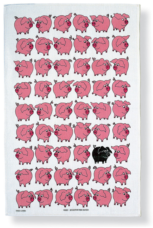 Piggy Linen Tea Towel