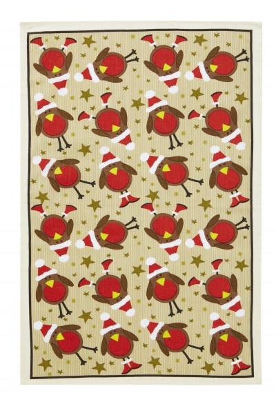 Red Robins Linen Tea Towel