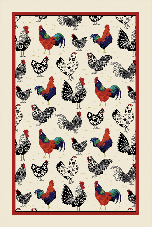 Rooster Linen Tea Towel