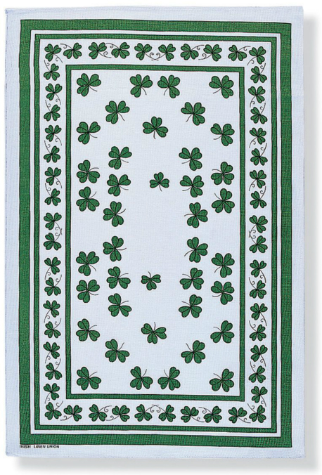 Shamrocks Linen Tea Towel
