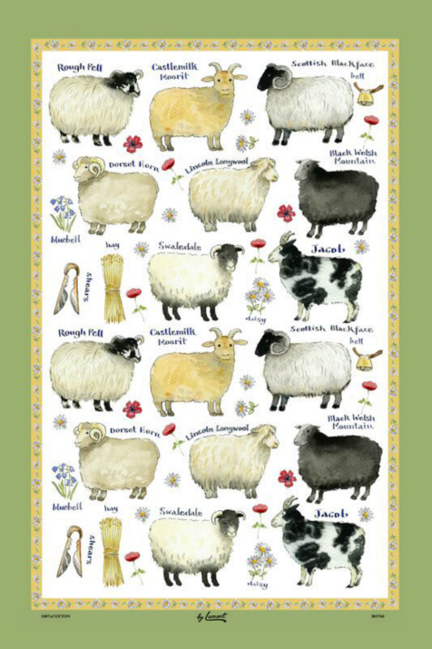 The Sheep Breeds Linen Union Tea Towel