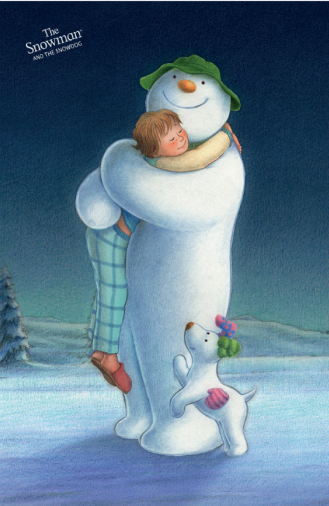 Snowman Hugging Cotton Tea Towel