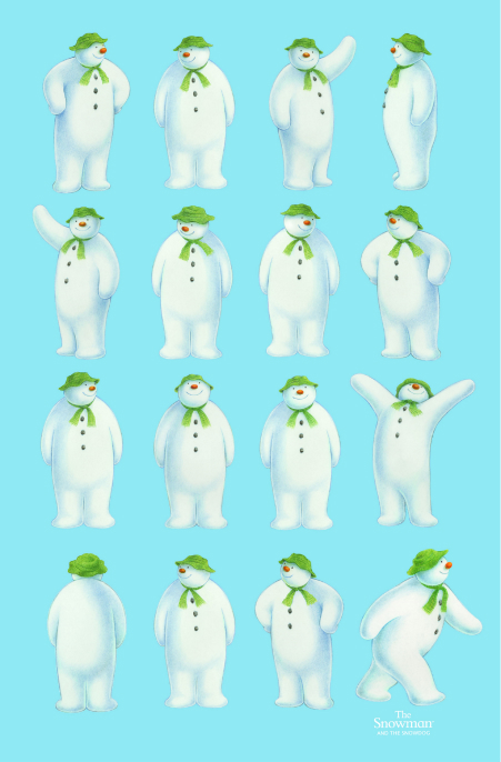 Snowman Motion Cotton Tea Towel