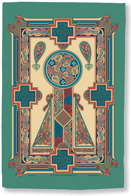 Celtic Panel Linen Tea Towel