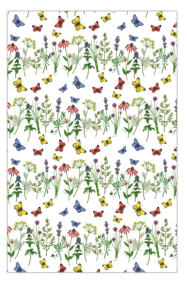 Herbs and Butterflies Cotton Tea Towel