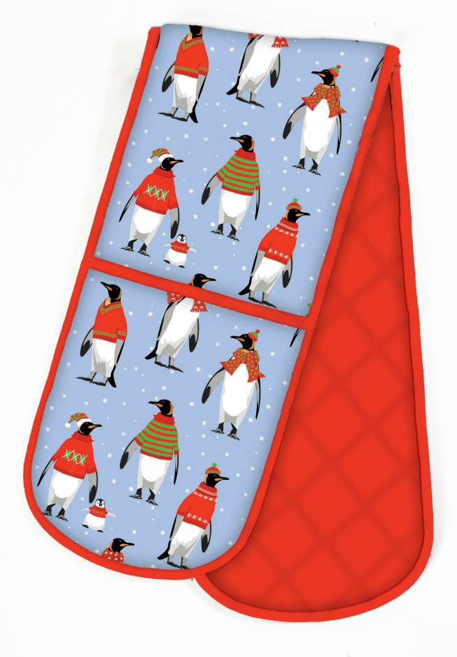 Cosy Penguins Double Oven Gloves