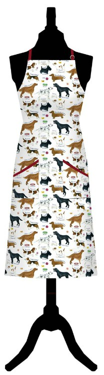 Dog Breeds Cotton Apron with Front Pocket