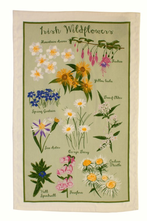 Irish Wild Flowers Cotton Tea Towel