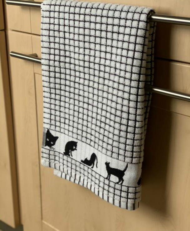 Lamont Poli-Dri Jacquard Tea Towel - Black Cat