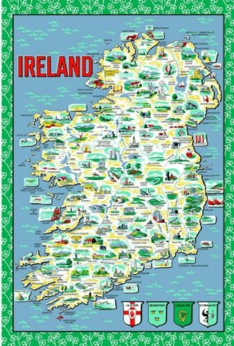 Ireland Map Cotton Tea Towel